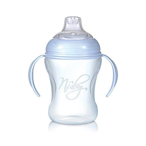Nuby NT69000 Bicchiere antigoccia Softflex Natural Sipper da 240 ml beccuccio morbido silicone per bambini dai 6 mesi su colore Blu
