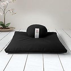 ZAFUKI Pack Zafu + Zabutón Negro Zen/Cojín para Yoga, Redondo/zafu/Cojín de meditación/Estera meditación, colchoneta meditación y Yoga, Base para cojín de meditación.