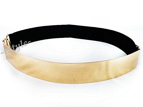 Damen Gürtel Goldene Schnalle Taillengürtel Stretchgürtel Hüftgürtel, Gr. 67 - 100cm, G13 Gold