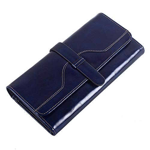 Damen Leder Material Brieftasche Clutch Organizer Scheckheft Inhaber dreifach gefaltete Brieftasche Clutch Geldbörse Casual Damen Geldbörse (Color : Blue, Size : Free Size) -