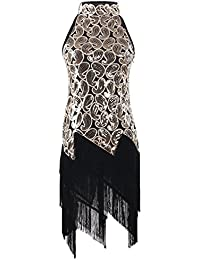 PrettyGuide Women 1920S Art Deco Sequin Paisley Flapper Tassel Glam Party Dress