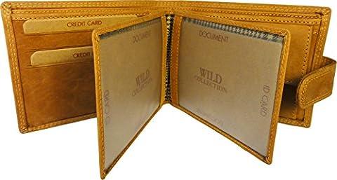 Wild Collection New Hommes de portefeuille en cuir véritable marron avec poche pour monnaie et cartes de crédit Support. Cadeau de luxe pour hommes. Must Have chaque homme.