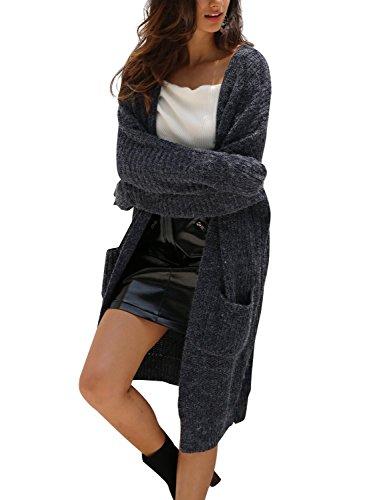Simplee Apparel Damen Lang Cardigan Casual Langarm Strickjacke Strickmantel mit Taschen Blau