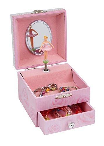 JewelKeeper Spieluhr Schmuckschatulle, Pink Rose Design mit Ausziehfächern - Schwanensee Melodie