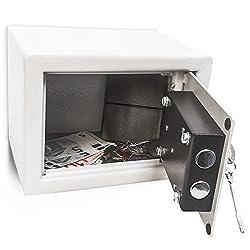 Relaxdays Mini Wandtresor mit Schlüssel, Stahl, Doppelbolzenverriegelung, robust, klein, HBT: 17 x 23 x 17 cm, hellgrau