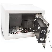 Relaxdays - Mini Caja fuerte hecho de acero cromado con medidas 23 x 17 x 17 cm cerrojos Seguridad Incluye dos llaves para guardar objetos de valor, gris
