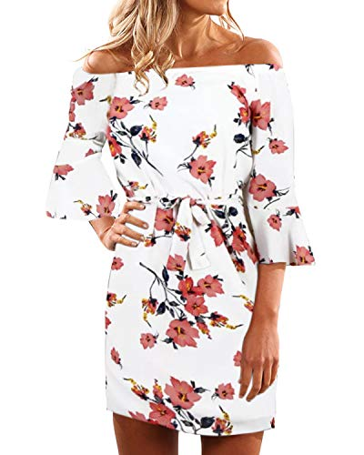 YOINS Sommerkleid Damen Kurz Schulterfrei Lange Ärmel Sexy Blumenmuster Strandkleid,M/EU40-42,Weiß (Off-shoulder-kleid)