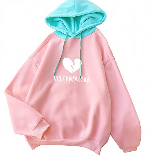 ZJSWCP Sweat-Shirt Sweat à Capuche Femme Rose Vert Épissage Hooded Atutumn coréen Harajuku Casual Fleece Kawaii Lettre Coeur Imprimer Pull,L