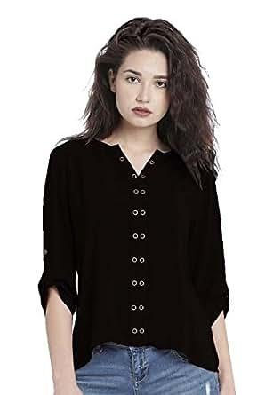 Leriya Fashion Women's Stitched Diamond Crepe Plain Western Wear Shirts (Black, Small)