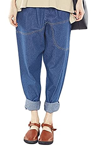 Mcdslrgo Women Washed Elastic Waist Ripped Harem Cropped Jeans (Asian