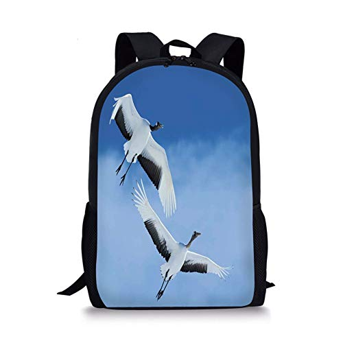 School Bags Bird,Two Red Crowned Crane with Open Wings Flying in Clear Sky Japanese Animal Duo,Blue White Black for Boys&Girls Mens Sport Daypack -