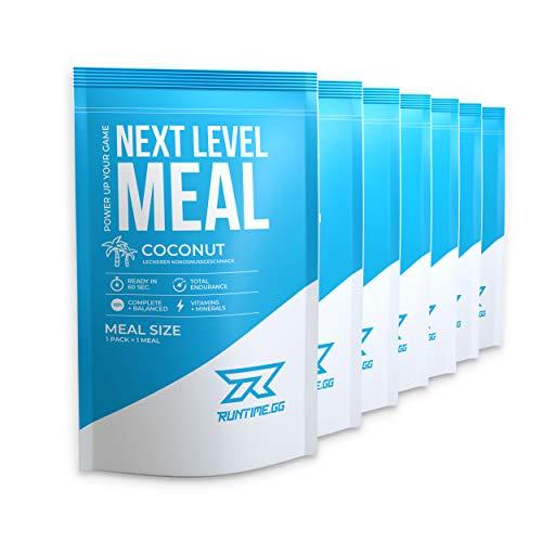 Runtime Next Level Meal Kokosnuss - vollwertiger Mahlzeitersatz für langanhaltende Sättigung, Energie, Konzentration und Leistungsfähigkeit, mit Vitaminen und Nährstoffen, 7 x 150g