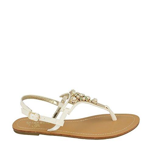 Gold&gold | Sandalo infradito pietre bianco Bianco