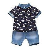 TWIFER été Dinosaure Tops Tops + Denim Shorts Pants 2pcs Vêtements Ensemble Toddler Enfants Bébé Garçon