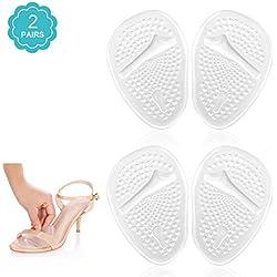 Doact Plantillas de Zapatos con Tacón Alto (2 pares) Proteger los Pies,Medio plantilla para Alivio el Dolor en el Antepié(35-40EU) (transparente)
