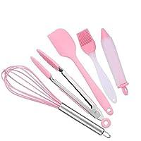 GAOFQ Silicona Kitchenware_5 Piezas Set Cepillo batidor de Acero Inoxidable Pinza para Alimentos Cake Pink