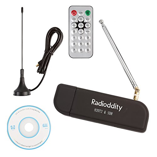 Radioddity SD71 Mini SDR 24Mhz-1.766GHz Full Band UHF VHF Tragbar USB Tuner Receiver RTL2832U+R820T2, Unterstützt Smartphone, mit 2 Antennen + 1 Fernbedienung + 2 Android OTG Konverter
