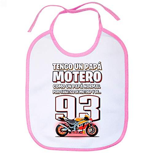 Babero tengo un papá motero fanático de las motos - Rosa