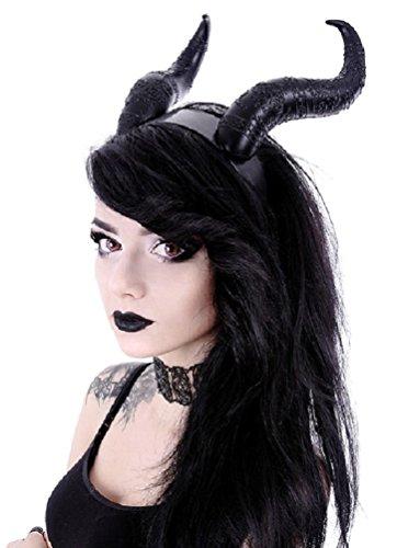 Restyle Gothic Stirnband Maleficent Hörner Nu Goth - Schwarz (One - Dämon Kostüm Hörner