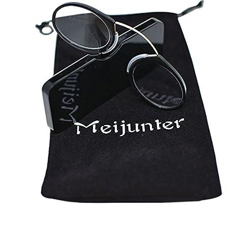 Meijunter Mode Pince Nase Lesebrille Presbyopic Eyewear Metall Nase Rack(black/Stärke:+2.0)