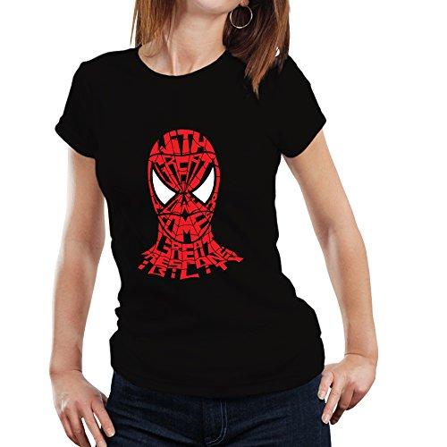 Fanideaz Branded Round Neck Cotton Typo Spiderman With Responsibilty TShirt for Women_Black_XL