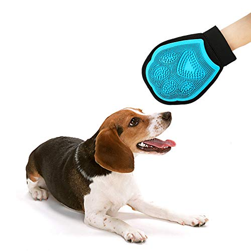 Xiluck Haustier-Fellpflege-Handschuh, sanfte Enthedderungsbürste und Kamm, Massagehandschuh, für Hunde und Katzen, Haustier-Fellpflegehandschuhe, Blau