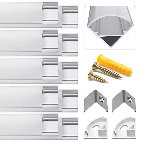Paquete 10 unidades 1 m perfil canal LED aluminio