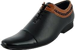 Lee Graim Men's Black Leather Looks Lace-Up Flats Formal Shoes
