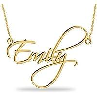 Namenskette Gold aus 750er vergoldetem 925er Silber -Personalisiert Namen Halskette mit Ihrem eigenen Wunschnamen!