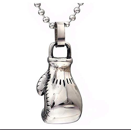 QIYUEQI Ms Halskette Männer Titan Stahl Boxhandschuh Anhänger mit Halskette, Kette, Länge 60 cm stilvolle und kreative Geschenk Schmuck