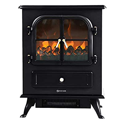 COSTWAY Electric Stove Heater, 1800W Freestanding Fireplace with LED Burning Frame Effect, Adjustable Thermostat and Overheat Protection, Indoor Heater Ideal for Living Room