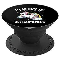21. Geburtstag Einhorn Lustiger Spruch Birthday Party Feier - PopSockets Ausziehbarer Sockel und Griff für Smartphones und Tablets