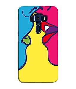 PrintVisa Lip to Lip Impression 3D Hard Polycarbonate Designer Back Case Cover for Asus Zenfone 3 Laser ZC551KL (5.5 inches)