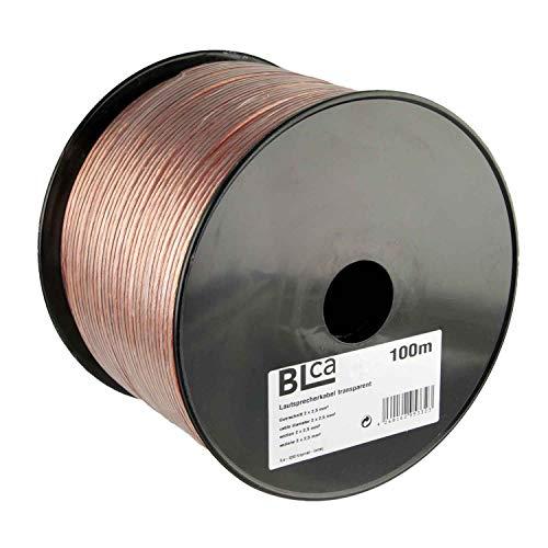 BLCA 100m 2x2,5mm² Lautsprecherkabel CCA | Boxenkabel Isoliert transparent mit Polaritätskennzeichnung | LS-Kabel als Meterware für Stereoanlage Etc.