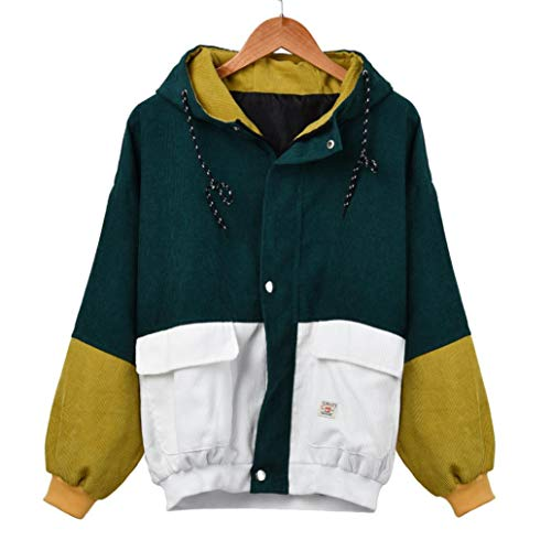 TWIFER 2018 Cord Patchwork Übergroße Jacke Windbreaker Langarm Mantel