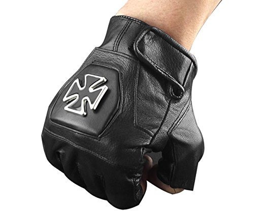 xtom2013 männer - Biker fahren motorrad igel spiele fingerlose handschuhe Leder Herren 07
