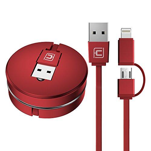 iPhone Ladekabel, CAFELE 2 in 1 Lightning Micro USB Einziehbares Kabel Aufrollbar Datenkabel  für iPhone X,8,7,7,6,6s, 6s, Plus, iPad,Android Handys - 3FT (Rot) (Für Android Usb-aux-kabel)
