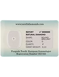 Torelli Diamond Brilliant Cut G/IF, 0. 13 CT