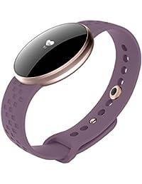 Rastreador de fitness, reloj inteligente para mujer para Andriod iPhone con monitor de ritmo cardíaco, monitor de sueño, cámara de podómetro, control remoto, recordatorio de SMS, recordatorio sedentar