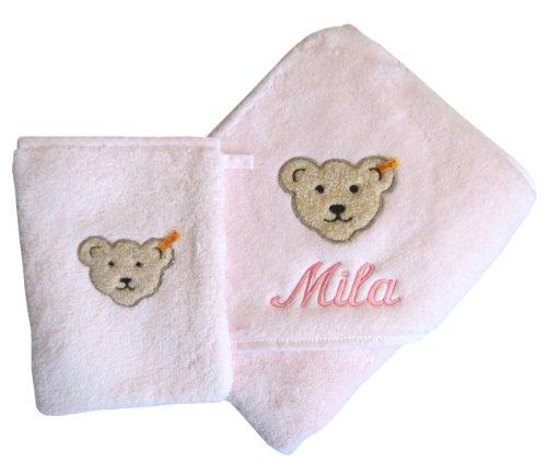 Set aus Kapuzentuch mit Ihrem Wunsch-Namen in der abgebildeten Stickschrift bestickt und Waschhandschuh rosa Steiff Collection
