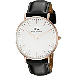 Daniel Wellington - 0508DW - Sheffield - Montre Mixte - Quartz Analogique - Cadran Rose Or- Bracelet Cuir Noir