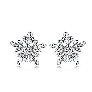 GULICX® Damen Ohrringe Schneeflocke Ohrstecker 925 Sterling Silber Cluster für Frauen Mädchen Kinder Weihnachtsgeschenk