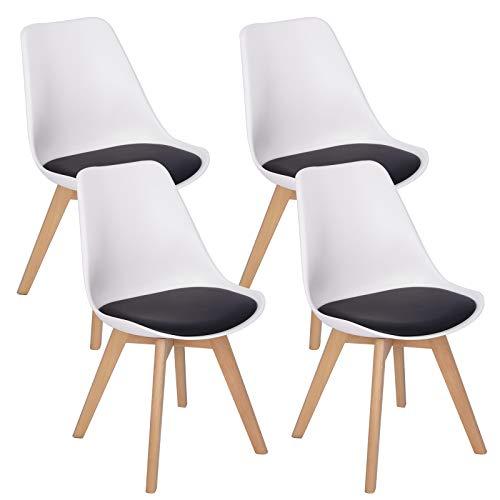 Woltu bh97wsz-4 sedie da pranzo sgabello con schienale plastica ecopelle legno di faggio sedia imbottita per cucina ristorante moderno bianco+nero set 4 pezzi