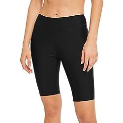 LAUSONS Legging de Bain Femme - Short de Bain Long Femme Plage - Bas Maillot de Bain Shorty Noir FR 40-42 / Étiquette 10