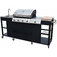 Alice's Garden Barbecue, cuisine extérieure gaz - D'Artagnan - Barbecue 4 brûleurs + 1 feu latéral, inox et noir, évier, planche à découper bois, ustensiles, thermomètre