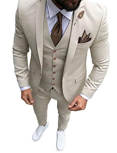 YSMO Herren Slim Fit 3 Stück Anzüge Jacke & Pants & Weste Hochzeit Blazer