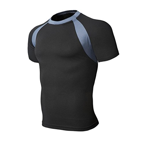 Ropa Deportiva de Camisetas - Rcool - Hombres Plain Polyester Contraste Respirable Costura Divierte la Camiseta Tops (S (Label size M), Negro)