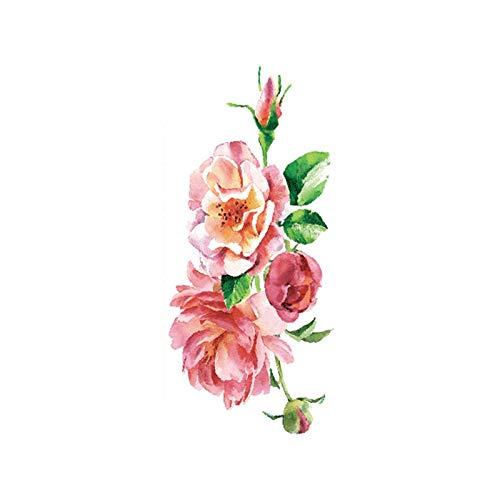 tzxdbh 7 Stücke-Blume Tattoo Aufkleber Damen Brust Bauch Kostüm Studio Rose Pfirsich Pfingstrose Tattoo Aufkleber TBX-9027 90 * 190 MM (Der Cloud 9 Kostüm)