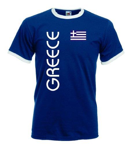 Griechenland Greece Herren Retro T-Shirt blauweiss Trikot|m-l