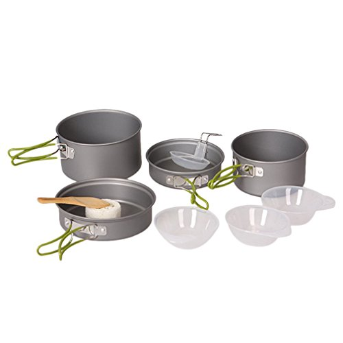 Outdoor Camping Cookware Set, ICOCO 9pcs Durable Senior Hard Aluminum Oxide Outdoor Camping Cookware Cooking Picnic Bowl Pot Pan Set Portable for Hiking Camping Picnic Barbecue